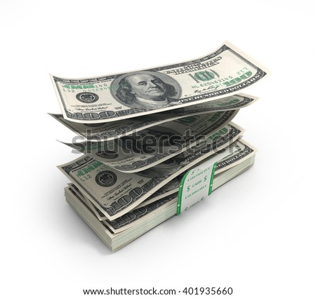 3d illustration of dollar bills flying out of the stack with a torn band are isolated on a white background - stock photo