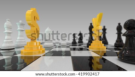 3d illustration of dollar versus yuan on checkerboard