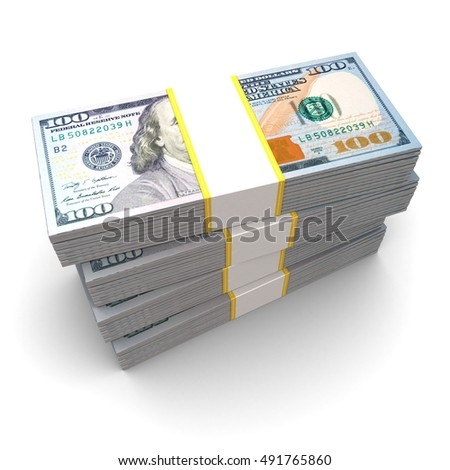 3d illustration of dollars stack, new banknotes