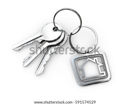 3d Illustration of Door keys with keychain isolated white  sc 1 st  Shutterstock & 3 D Illustration Door Keys Keychain Isolated Stock Illustration ...