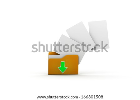 3D illustration of downloading folder. Isolated on white background.