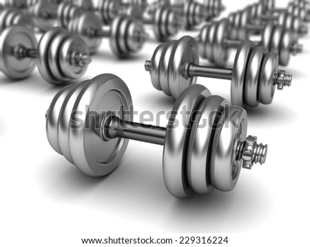 3d illustration of dumbells background - stock photo