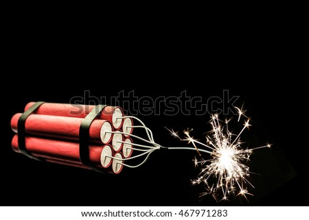 3d illustration of dynamite sticks isolated on black background