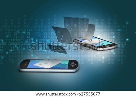 3d illustration of e-mail sharing between smart phone