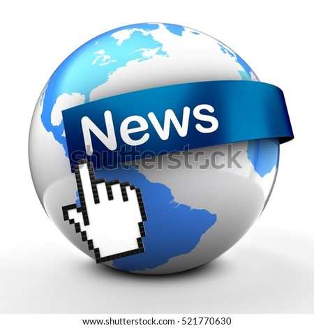 3d illustration of Earth globe on white back  with news text on blue banner