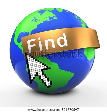 3d illustration of Earth globe on white  with find text on golden banner