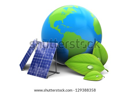 3d illustration of earth globe with solar panel, eco energy concept - stock photo