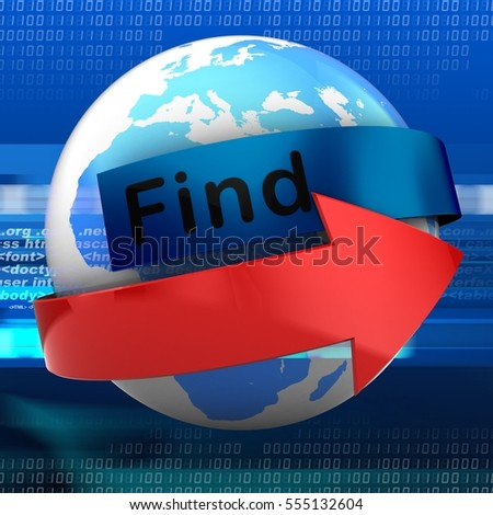 3d illustration of earth on digital background  with find text on blue banner