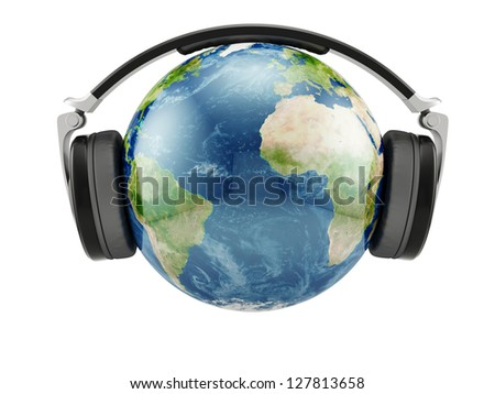 3d illustration of Earth planet with earphones isolated. Elements of this image furnished by NASA - stock photo
