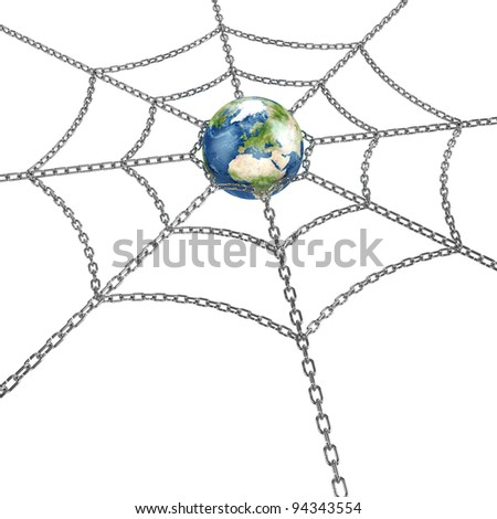3d illustration of Earth planet with metal web - stock photo