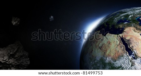 3D Illustration of Earth with Rising Sun and Asteroids (Hight Resolution 3D Image)