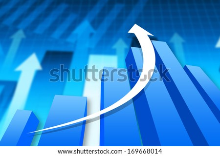 3D illustration of economical graph.