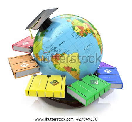 3d illustration of Education in the design of the information related to education and acquisition of knowledge - stock photo