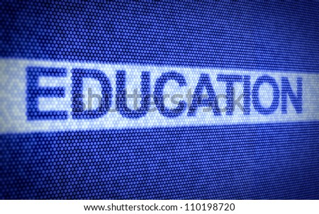 3d illustration of education text on computer screen