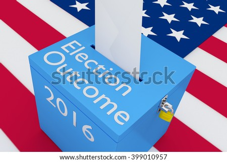 3D illustration of Election Outcome, 2016 scripts on ballot box, with US flag as a background. Election Concept.