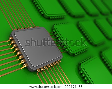 3d illustration of electronic board and main chip - stock photo