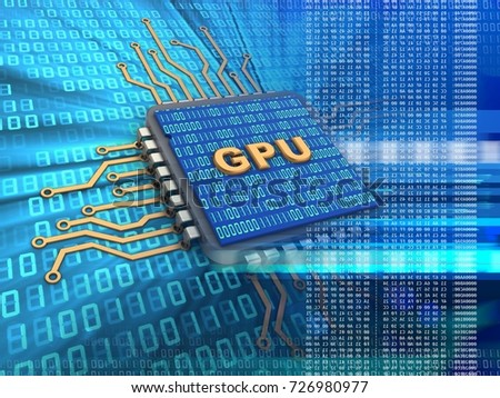 3d illustration of electronic microprocessor over digital background with gpu sign and binary code inside