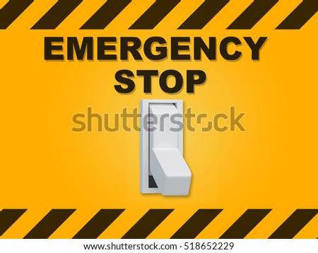 3 D Illustration Emergency Stop Title Above Stock Illustration