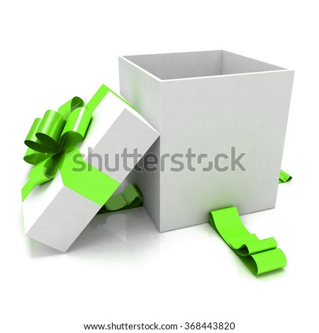 3d illustration of empty box for gift - stock photo