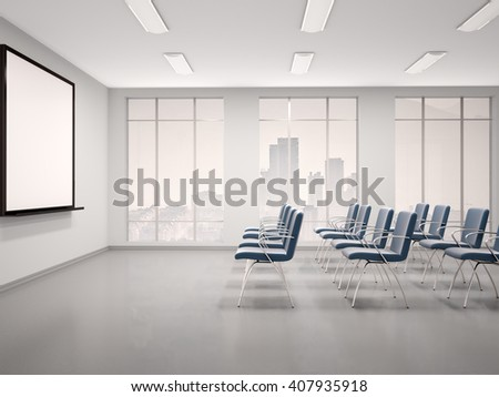 3d illustration of empty conference room with a whiteboard for seminar - stock photo