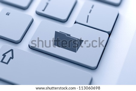 3d illustration of empty folder sign button on keyboard with soft focus - stock photo