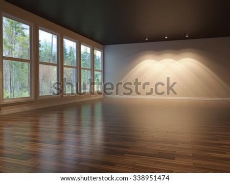 3d illustration of empty interior with huge windows - stock photo