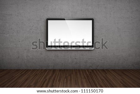 3D illustration of empty room with TV screen on the wall - stock photo