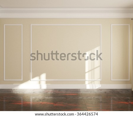 3d illustration of empty room with window and parquet