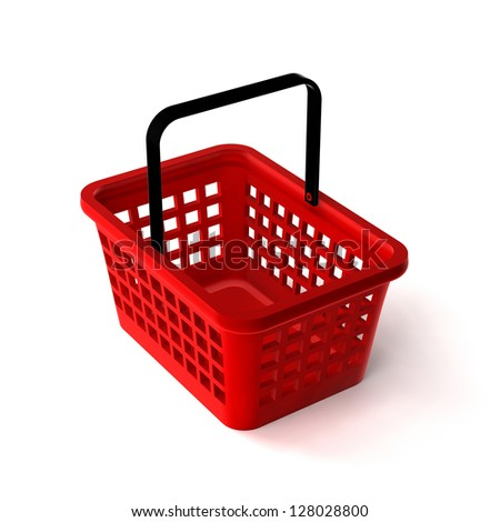 3D Illustration of Empty Shopping Basket Render isolated on White Background - stock photo