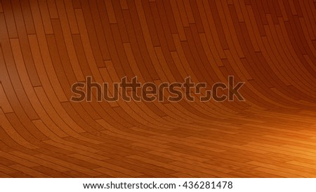 3D illustration of empty wooden studio