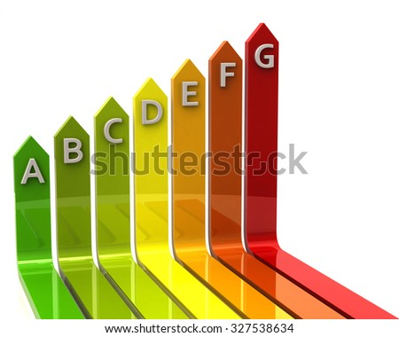 3d illustration of energy efficiency - stock photo