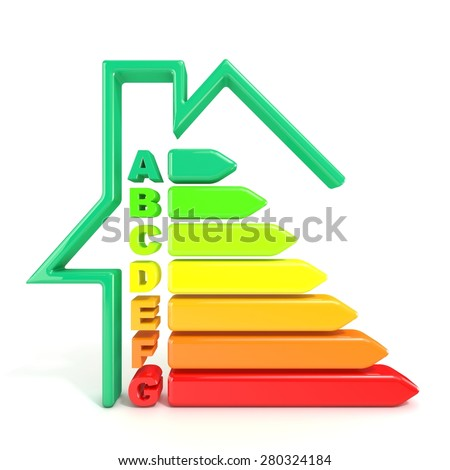 3D illustration of energy efficiency symbol and green house shaped line