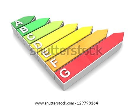 3d illustration of energy efficiency symbol over white background - stock photo