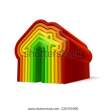 3D Illustration of Energy House Graphic Render on Isolated White Background - stock photo
