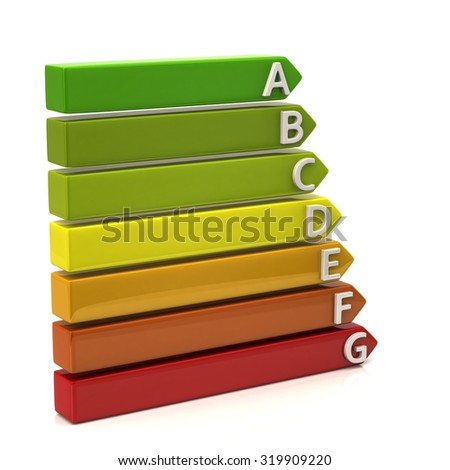 3d illustration of energy rating graph with arrows - stock photo