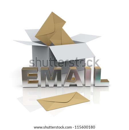 3d illustration of envelopes from open box and word email - stock photo