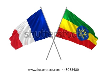 3d illustration of Ethiopia and France flags together waving in the wind - stock photo