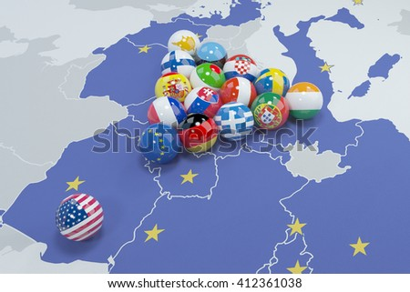 3D illustration of eu and usa flags on the pool table 2