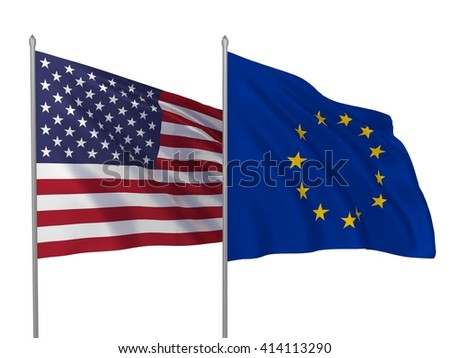 3d illustration of EU and USA flags waving in the wind - stock photo