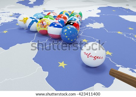 3d illustration of eu flags on eu map  - stock photo