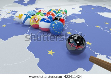 3d illustration of eu flags on eu map 4 - stock photo