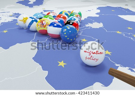 3d illustration of eu flags on eu map 3 - stock photo