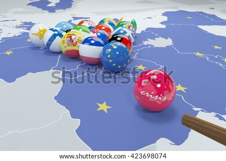 3d illustration of eu flags on eu map 5 - stock photo
