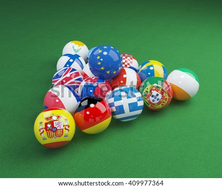 3D illustration of eu flags on the pool table 6 - stock photo