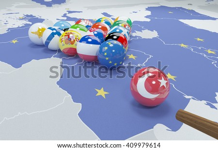 3D illustration of eu flags on the pool table 10 - stock photo