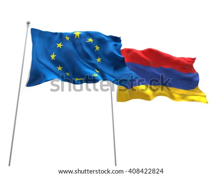 3D illustration of Europe Union & Armenia Flags are waving on the isolated white background