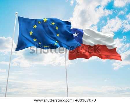 3D illustration of Europe Union & Chile Flags are waving in the sky