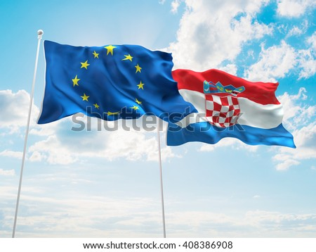 3D illustration of Europe Union & Croatia Flags are waving in the sky