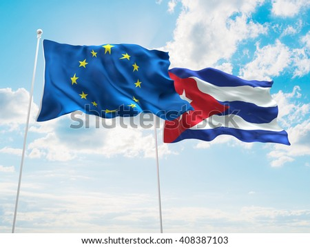 3D illustration of Europe Union & Cuba Flags are waving in the sky