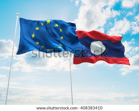 3D illustration of Europe Union & Laos Flags are waving in the sky